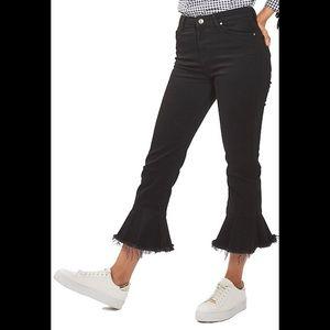 Topshop Moto Black dree cropped  raw hem jeans